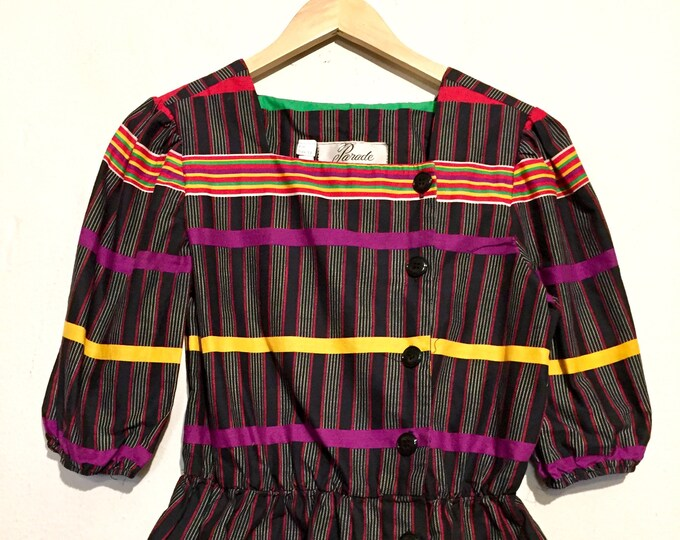 80s Rainbow Stripe Peplum Blouse