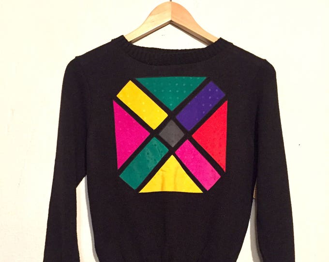 80s Vintage Color-block Sweater