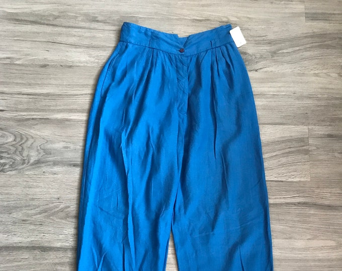 80s French Connection Voluminous Cuffed Blue Pants