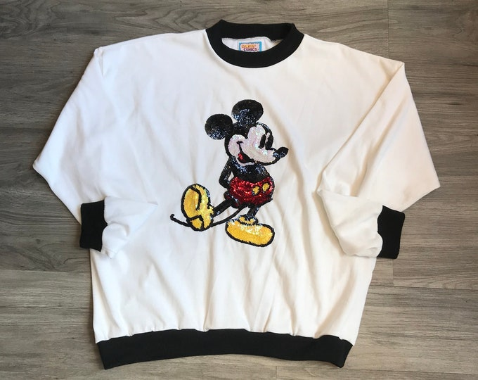 90s Sequins Mickey Mouse Sweatshirt