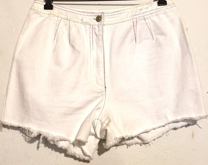 80s Vintage White Denim High Rise Shorts with Rainbow Colored Stitching