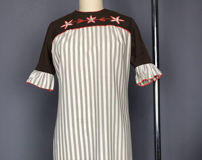 Ruffle Sleeve Awning Stripe Shift Dress