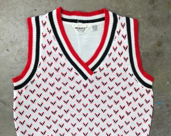 60s vintage red black and white sweater vest small WT41812