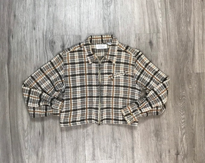 90s Plaid Cropped Jacket