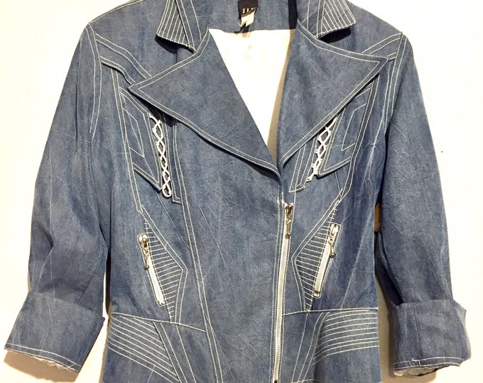 80s Lattice Detail Peplum Chambray Motorcycle Jacket