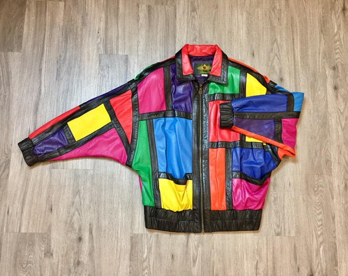 80s Patchwork Leather Bomber Jacket
