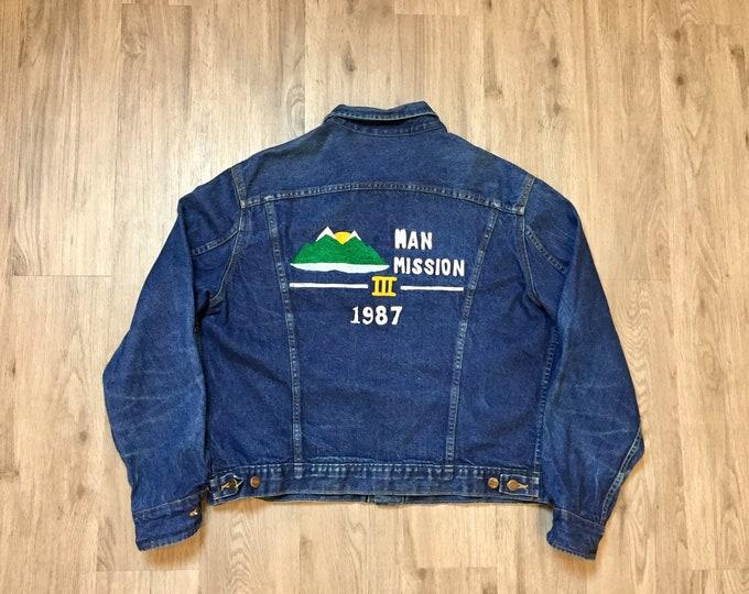 80's 1987 Man Mission Embroidered Denim Jacket