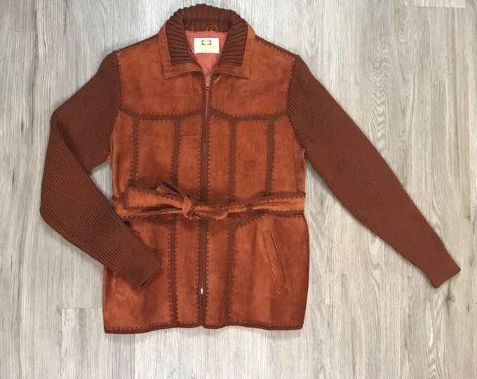 70s Suede and Knit Patchwork Jacket