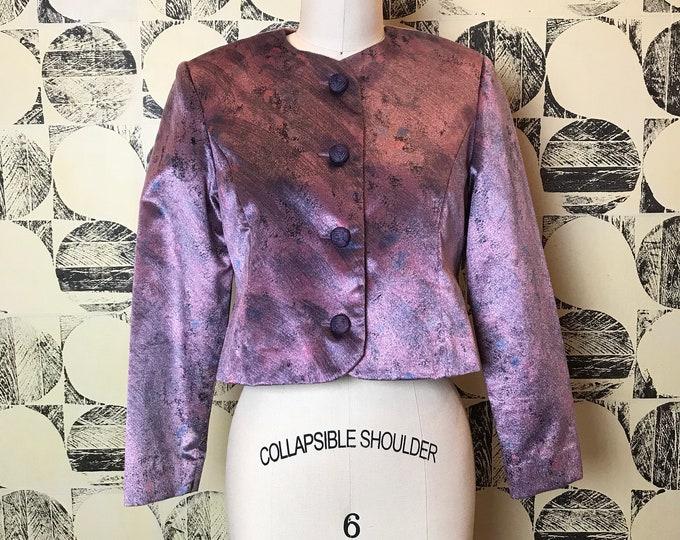 80s Textured Shiny Cropped Jacket
