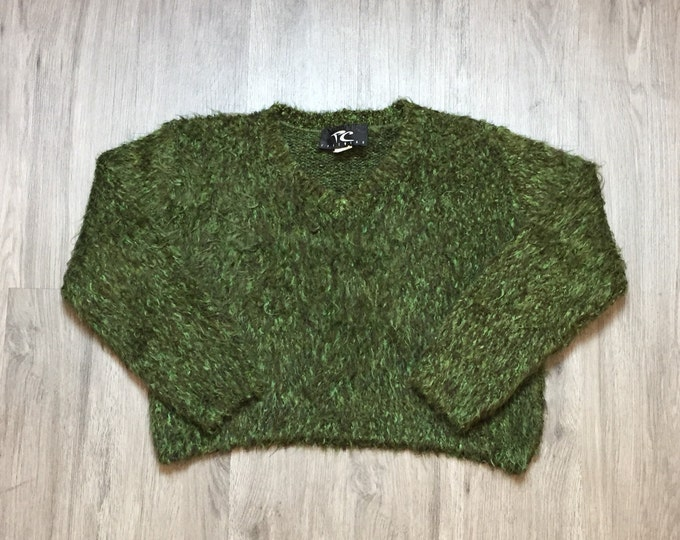 90s Green Mohair Look Sweater