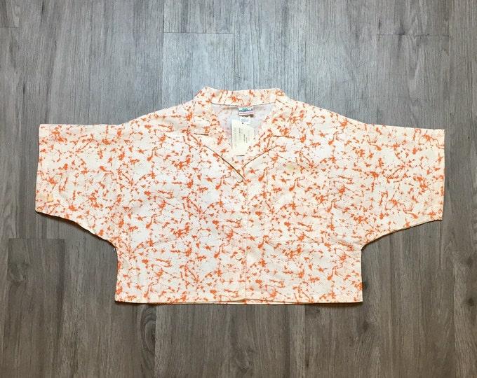 80s Orange Tie Dye Cropped Button Down