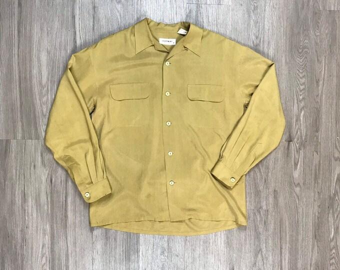 80s Tan Silk Button Up
