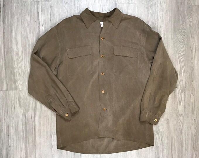80s Brown Silk Button Up