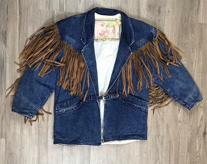 80s Fringe Strong Shoulder Denim Jacket