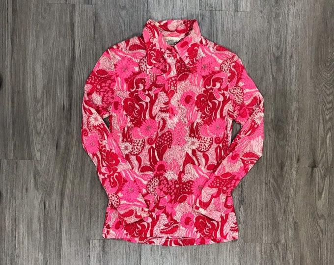 60s Pink Lace Floral Blouse