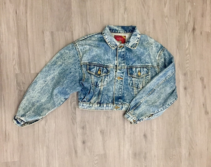 80s Acid Wash Cropped Denim Jacket