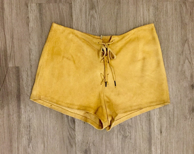 70s Suede Lace Up Shorts