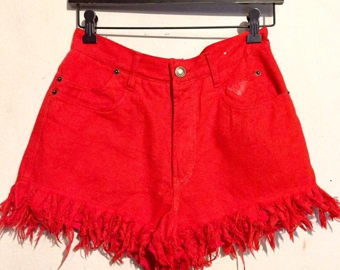 90s Vintage Bright Reddish-Orange High Rise Frayed Hem Shorts