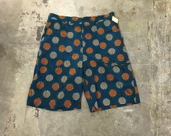 Handmade Op Art Hypnotic Groovy Print Shorts