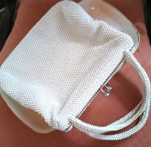 Vintage White  Corde Beaded Handbag, by Reusablefi