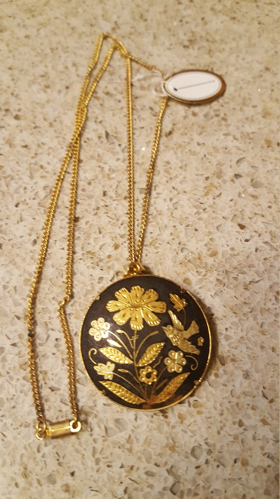 Vintage Damascene Gold & Black Flowers Necklace