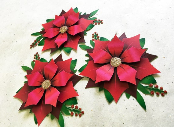Poinsettia Paper Cut Christmas Flowers By Christines Catch My Party