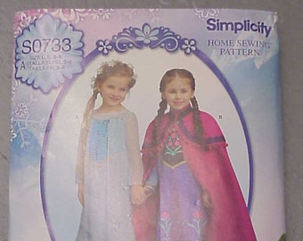 Simplicity S0733 / Simplicity 1233 - Disney Frozen Anna & Elsa Dress pattern Size 3-8 - new!