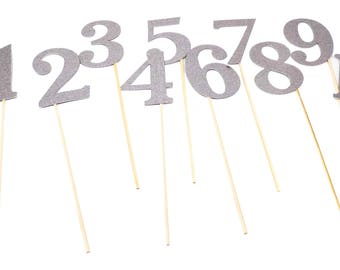 Table Numbers Centerpiece Sticks 1-10, Double Sided real Glitter, Gold, Silver, Pink, Hot Pink, Purple, Blue, and Green
