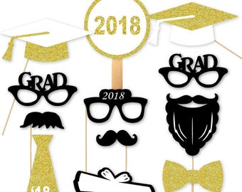 2018 Graduation Photo Booth Props Graduation Portrait PhotoBooth Glasses Class of 18 Gold Silver Glitter Set of 12 more Colors Available