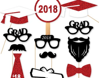 2018 Graduation Photo Booth Props Graduation Portrait PhotoBooth Glasses Class of 18 Red Gold Silver Glitter Set of 12 more Colors Available