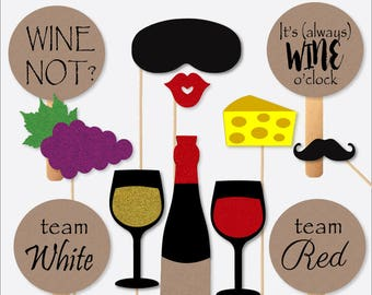 Wine Tasting Photobooth Props Real Glitter Photo Booth Kit Set of 12 Photography Props Items for Selfies Classy Glitter Wine Theme Party