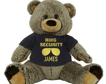 d106eef8cf1 Personalized Ring Bearer Teddy Bear 16 inch Gray Plush Gift for Wedding  Party Add Your Custom Name and Thank You Message Gold Black