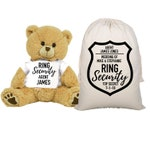 Ring Security Teddy Bear and Gift Bag 8 inch Tan Plush Gift for Wedding Party Add Your Custom Name Wedding Thank You Message Proposal