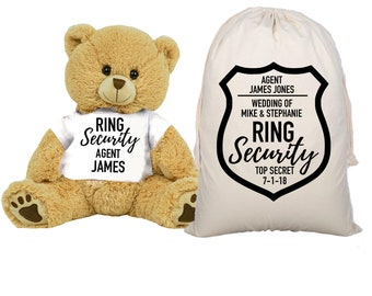 f7e4d94258a Ring Security Teddy Bear and Gift Bag 8 inch Tan Plush Gift for Wedding  Party Add Your Custom Name Wedding Thank You Message Proposal