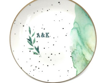 Personalized Ring Dish for Jewelry Gift, Ceramic Mixture Lightweight Durable Green Marbled Speckled Foiled Design Resin Sealed Glossy Finish