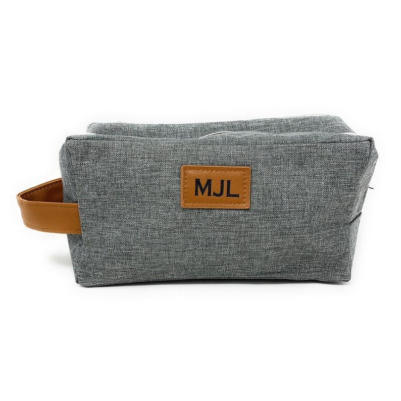 Personalized Mens Toiletry Bag Groomsman Father's Day Gray