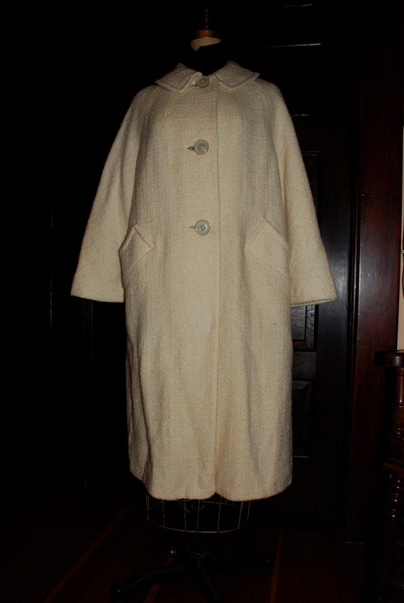 Cream Boucle Wool Coat