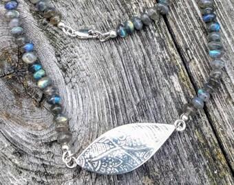 Silver Focal Bead & Labradorite Necklace