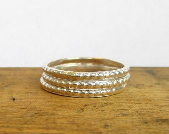 3 Textured Sterling Silver Stacking Rings. Silver Ring Set. Silver Ring Bands. Stacking Rings. Stackable Rings. Sterling silver Bands.