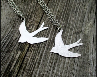 Sterling Silver 925 Swallow Pendant, Swallow Necklace