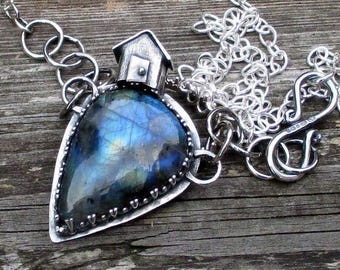 House on the Hill Silver and Lampwork Pendant / Necklace