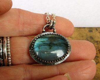 Blue Labradorite  & Silver Pendant