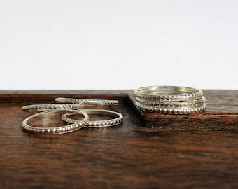 Stacking Rings. Textured Silver Silver Stacking Ring. Silver Ring Bands. Stacking Rings. Stackable Rings. Sterling silver Bands. Ring Set