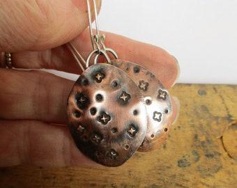 Fleur De Lis Stamped Copper Earrings