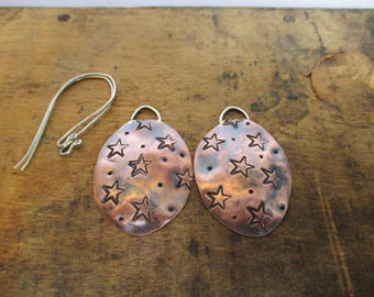Large Star Stamped Copper Earrings