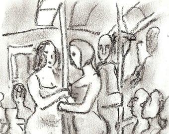 Original Subway Sketch, Light Effect, Summer Dresses, NYC. Charcoal Drawing, 6x8 inch New York City Signed Original Urban Fine Art
