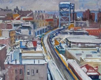 Realist Oil Painting, Way Up Broadway, Snow, New York City. 14x18 NYC Urban Impressionist Winter Scene, Signed Plein Air Original Fine Art