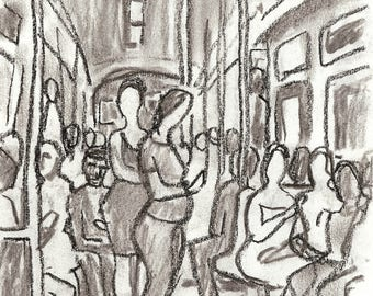 Light Effect, the A Train, NYC. Original Charcoal Drawing, 6x8 inch Sketch, New York City Subway Drawing, Signed Original Urban Fine Art