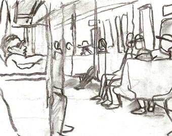 Original Charcoal Drawing, Take the A Train, NYC. 6x8 inch Sketch, New York City Subway Drawing, Signed Original Urban Fine Art