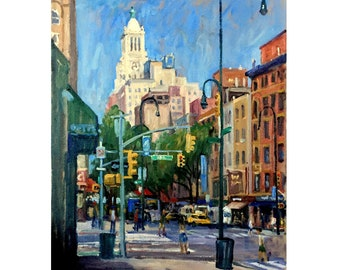 16x20 New York Cityscape Painting -14th Street/NYC- Oil on Canvas, Large Urban Impressionist Fine Art, Plein Air Signed Original